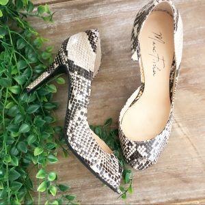 Marc Fisher Shoes - MARC FISHER Snakeskin Open Toe Classic 'Joey' Heel
